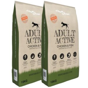 vidaXL koerte kuivtoit Adult Active Chicken & Fish 2 tk, 30 kg