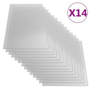 vidaXL polükarbonaadi lehed 14 tk, 4 mm, 121 x 60 cm