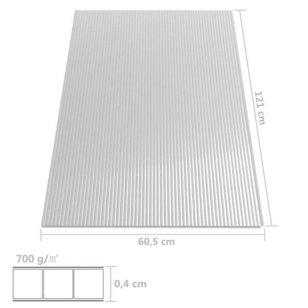 vidaXL polükarbonaadi lehed 28 tk, 4 mm, 121 x 60 cm