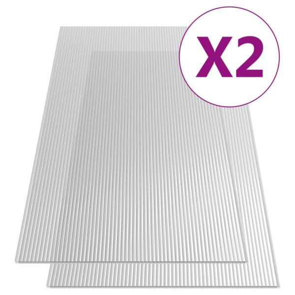 vidaXL polükarbonaadi lehed 2 tk, 10 mm, 150 x 65 cm