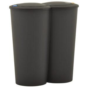 kahe konteineriga prügikast, 50 l, must