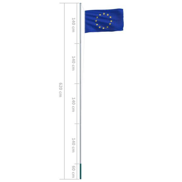 vidaXL Euroopa Liidu lipp ja lipumast, alumiinium, 6,2 m