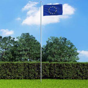 Euroopa Liidu lipp ja lipumast, alumiinium, 6,2 m