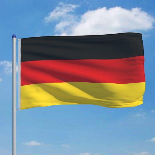 Buum24 Saksamaa lipp ja lipumast, alumiinium, 6 m