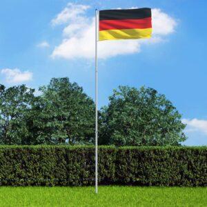 Saksamaa lipp ja lipumast, alumiinium, 6 m